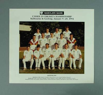 Photograph of Queensland cricket team, Under 19 Australian Championships - 1994