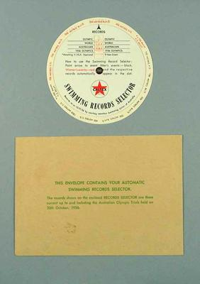Caltex swimming record selector in envelope, c1956