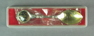 Plastic presentation box for spoon, c1956