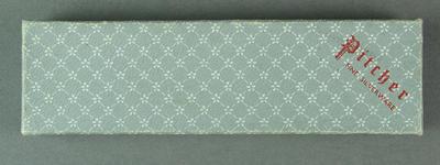 Cardboard presentation box for spoon, c1956; Domestic items; 1992.2683.3