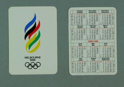 Two pocket calendars, Melbourne 1996 Olympic Games logo