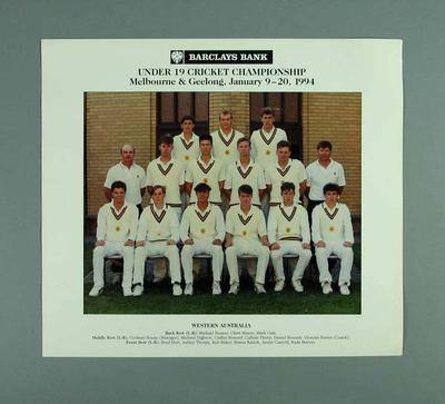 Photograph of Western Australia cricket team, Under 19 Australian Championships - 1994