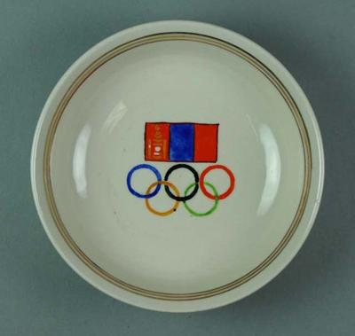 Bowl, Mongolian flag and Olympic Rings c1990
