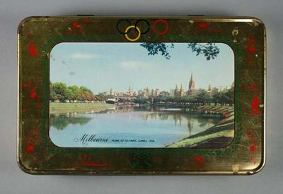 """Tin - """"Melbourne Home of Olympic Games, 1956"""" Souvenir - Griffiths Sweets tin"""