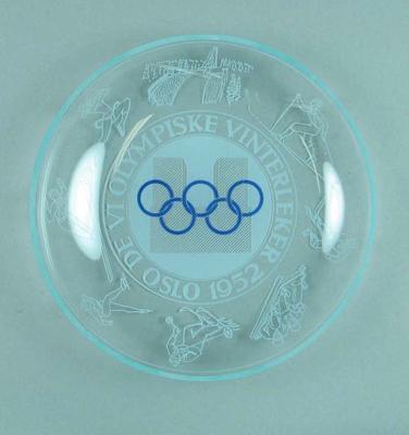Glass dish, 1952 Oslo Winter Olympic Games design