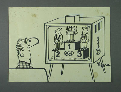 Cartoon, depicts man watching Olympic Games medal presentation on TV c1956
