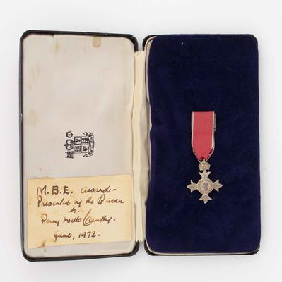 MBE award, presented to Percy Cerutty 1972