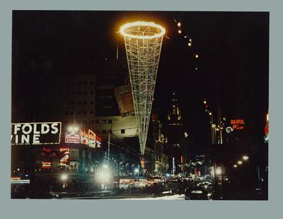 Photograph of Swanston Street with 1956 Olympic Games decorations