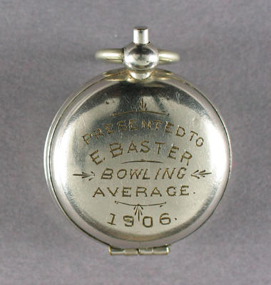 Fob compass, awarded to E Baster - Rosemont Cricket Club Bowling Average 1906