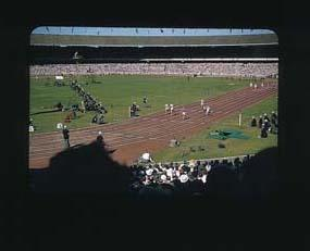 Colour slide of the Melbourne Cricket Ground during the 1956 Olympic Games; Photography; 1986.1047.11