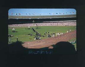 Colour slide of the Melbourne Cricket Ground during the 1956 Olympic Games; Photography; 1986.1047.12
