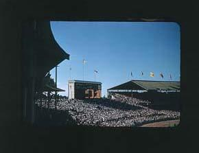 Colour slide of the Melbourne Cricket Ground during the 1956 Olympic Games; Photography; 1986.1047.13
