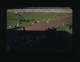 Colour slide of the Melbourne Cricket Ground during the 1956 Olympic Games