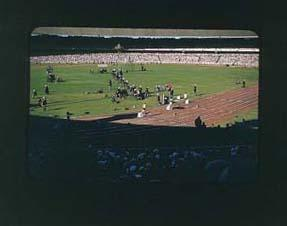 Colour slide of the Melbourne Cricket Ground during the 1956 Olympic Games; Photography; 1986.1047.15
