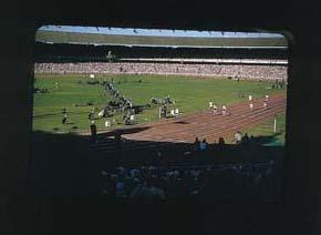 Colour slide of the Melbourne Cricket Ground during the 1956 Olympic Games; Photography; 1986.1047.16
