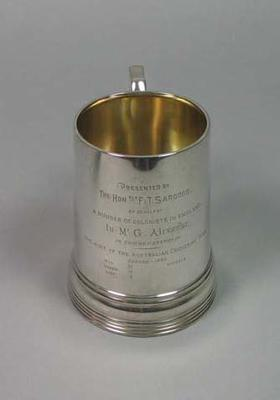 Tankard presented to George Alexander, 1880 Australian cricket tour of England