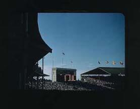 Colour slide of the Melbourne Cricket Ground during the 1956 Olympic Games; Photography; 1986.1047.18