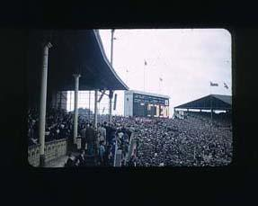 Colour slide taken during the 1956 Olympic Games, depicting the inside of the Melbourne Cricket Ground; Photography; 1986.1047.23
