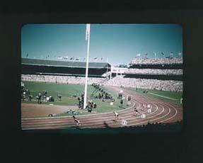 Colour slide taken during the 1956 Olympic Games, depicting the inside of the Melbourne Cricket Ground