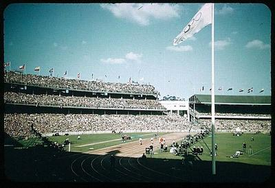 Colour slide taken during the 1956 Olympic Games, shows the inside of the Melbourne Cricket Ground