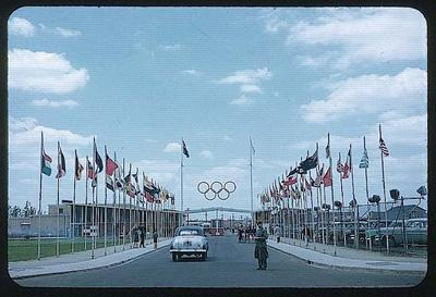 Colour slide taken during the 1956 Olympic Games, shows entrance to Athlete's Village