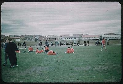 Colour slide taken during the 1956 Olympic Games, shows athletes in Olympic Village