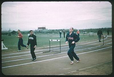 Colour slide taken during the 1956 Olympic Games, depicts Emil Zátopek training at Olympic Village