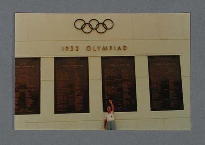 Photograph of Edgar Gray inside 1932 Olympic Games stadium, c1984