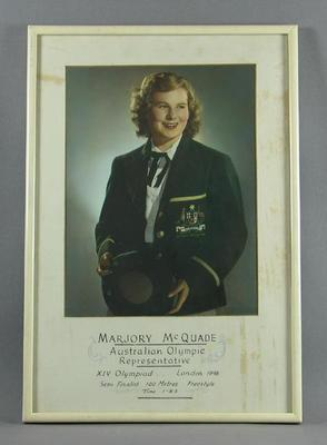 Framed colour portrait photograph - Marjory McQuade - Australian Olympic Represenative; Photography; Framed; 1986.1254.3
