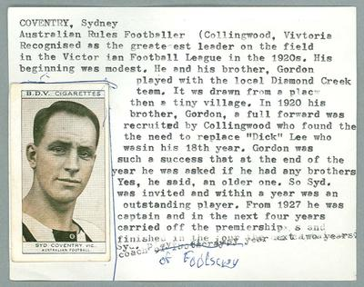 Trade card featuring Syd Coventry, BDV Cigarettes 1933