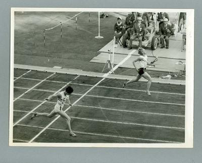 Black and white photograph -  Betty Cuthbert winning 400 metres final - Commonwealth Games Perth 1962