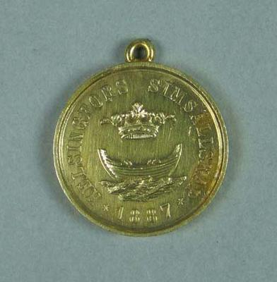 Gold medal presented to winner of 50m swimming race held in Finland c1910-20, won by Frank Beaurepaire