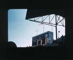 Colour slide: 1956 Melbourne Olympic Games, 110 Metres Hurdles Final Placegetters, MCG; Photography; 1987.1711.4