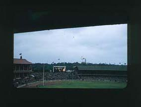 Colour slide: 1956 Melbourne Olympic Games, Soccer Exhibition on MCG