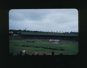 Colour slide: 1956 Melbourne Olympic Games,Closing Ceremony from Northern Stand