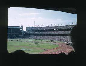 Colour slide: 1956 Melbourne Olympic Games, 100 Metres Sprint, MCG - Julius Patching starter