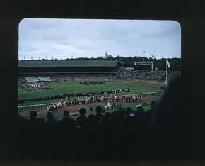 Colour slide: 1956 Melbourne Olympic Games Closing Ceremony - Avery Brundage and Sir Wilfred Kent Hughes