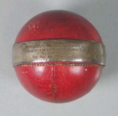 Cricket ball, presented to Percy Wallace - 1928