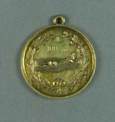 Gold medal presented to winner of 100m swimming race held in Finland c1910-20, won by Frank Beaurepaire
