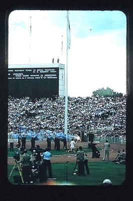 Slide, depicts 1956 Olympic Games Opening Ceremony; Photography; 1991.2458.14