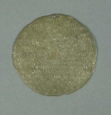 Silver medallion, used as talisman by Percy Cerutty c1973