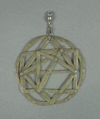 Silver medallion, used as talisman by Percy Cerutty c1970s