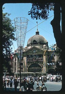 Slide, depicts 1956 Olympic Games decorations around Melbourne