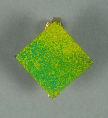 Badge, green and yellow enamel