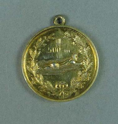 Gold medal presented to winner of 500m swimming race held in Finland c1910-20, won by Frank Beaurepaire