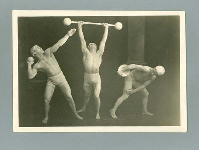 Photograph of three men in classical Greek athletic poses, c1920s