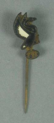 Stick pin, black & white swan with football c1961
