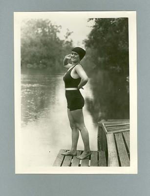 Photograph of Lola Scott in swimming costume on dock, c1920s