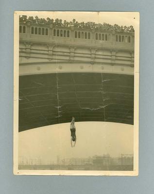 Photograph of Lola Scott diving off Princes Bridge, c1927
