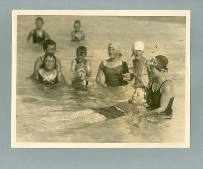 Photograph of Lola Scott teaching a swimming class, c1927